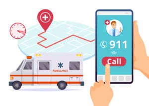 Urgent 911 hospital emergency call